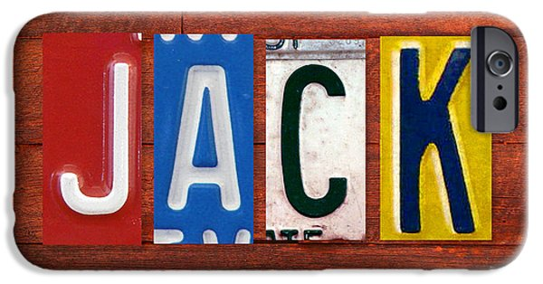 Signed Mixed Media iPhone Cases - JACK License Plate Name Sign Fun Kid Room Decor iPhone Case by Design Turnpike