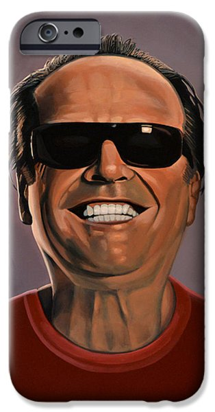 Shine iPhone Cases - Jack Nicholson 2 iPhone Case by Paul  Meijering