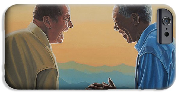 Shine iPhone Cases - Jack Nicholson and Morgan Freeman iPhone Case by Paul Meijering