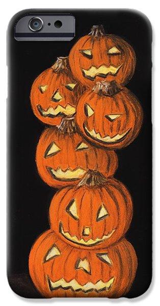 Orange Pastels iPhone Cases - Jack-O-Lantern iPhone Case by Anastasiya Malakhova