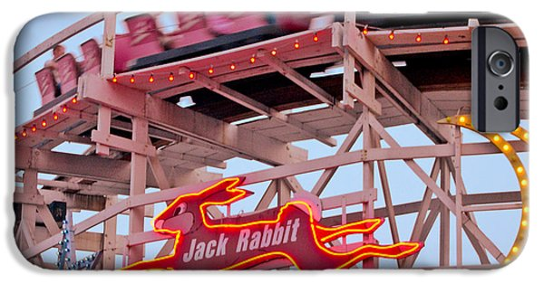 Amusements iPhone Cases - Jack Rabbit Coaster Kennywood Park iPhone Case by Jim Zahniser