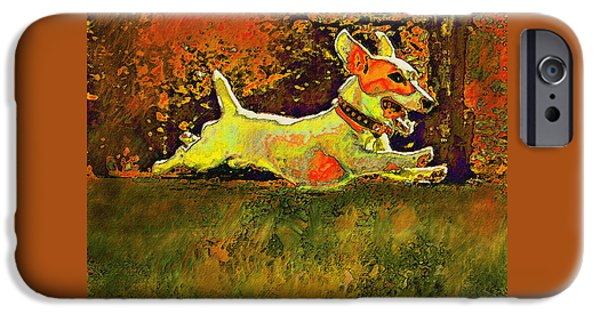 Puppy Digital Art iPhone Cases - Jack Russell In Autumn iPhone Case by Jane Schnetlage