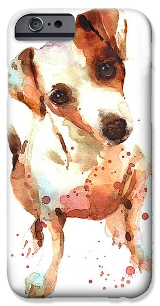 Dogs iPhone Cases - Jack Russell Painting iPhone Case by Alison Fennell