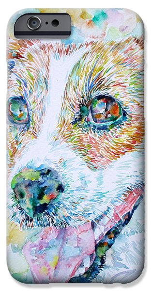 Jack Russell iPhone Cases - JACK RUSSELL TERRIER - watercolor portrait.1 iPhone Case by Fabrizio Cassetta