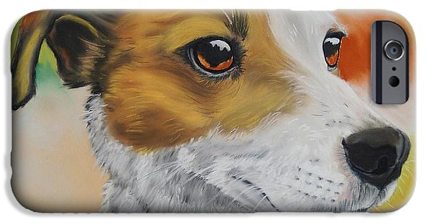 Close Up Pastels iPhone Cases - Jack Russell Terrier iPhone Case by Kevin Hubbard