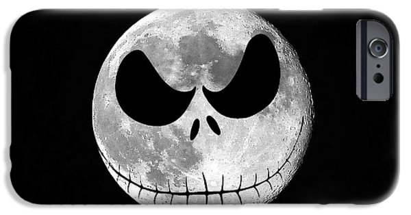 Moonscape iPhone Cases - Jack Skellington Moon iPhone Case by Al Powell Photography USA