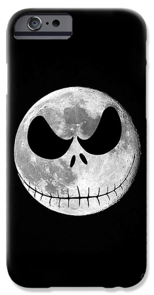 Moonscape iPhone Cases - Jack Skellington Moon Vertical iPhone Case by Al Powell Photography USA