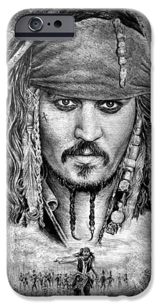 Character Portraits Drawings iPhone Cases - Jack Sparrow iPhone Case by Andrew Read