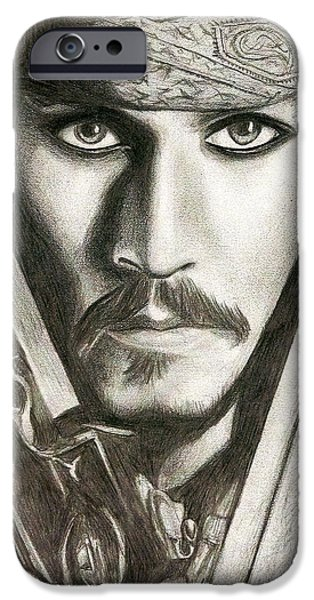 Pirate Ship Mixed Media iPhone Cases - Jack Sparrow iPhone Case by Michael Mestas