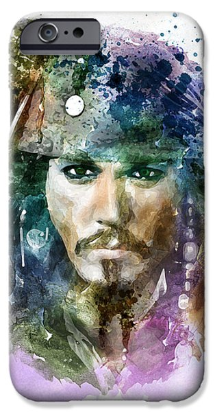 Affordable iPhone Cases - Jack Sparrow watercolor portrait iPhone Case by Marian Voicu