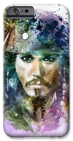Marian iPhone Cases - Jack Sparrow watercolor portrait iPhone Case by Marian Voicu