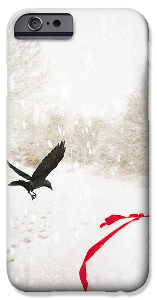 Snowy Scene iPhone Cases - Jackdaw In Snow iPhone Case by Amanda And Christopher Elwell