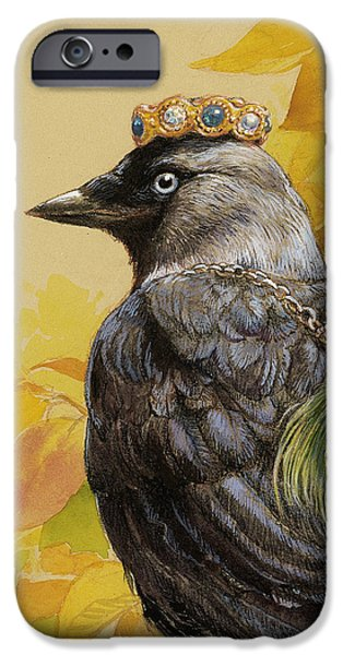 Black Bird iPhone Cases - Jackdaw Triumphant iPhone Case by Tracie Thompson