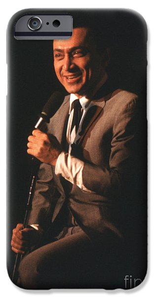 Stand iPhone Cases - Jackie Mason performing in 1964 iPhone Case by The Phillip Harrington Collection