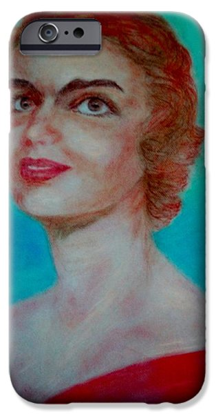 First Lady Paintings iPhone Cases - Jackie Onasis iPhone Case by Marjudy Royo