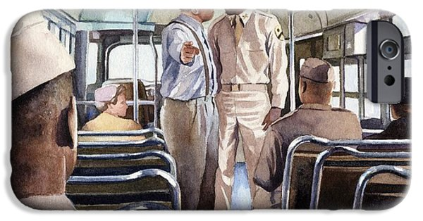 Civil Rights iPhone Cases - Jackie Robinson Boarding an Army Bus iPhone Case by Rob Wood