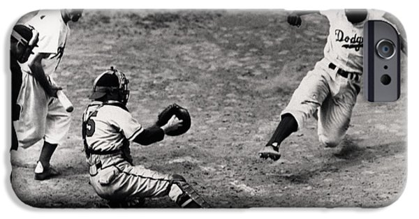 Balls Photographs iPhone Cases - Jackie Robinson in Action iPhone Case by Gianfranco Weiss