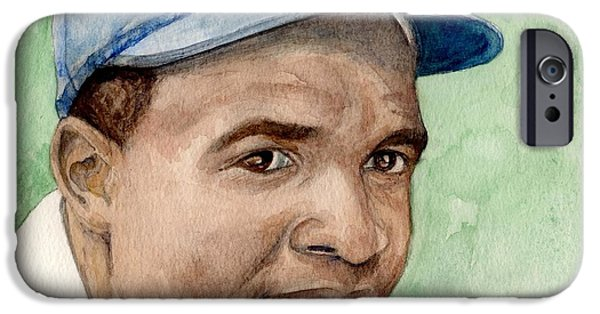 Negro Paintings iPhone Cases - Jackie Robinson iPhone Case by Nigel Wynter