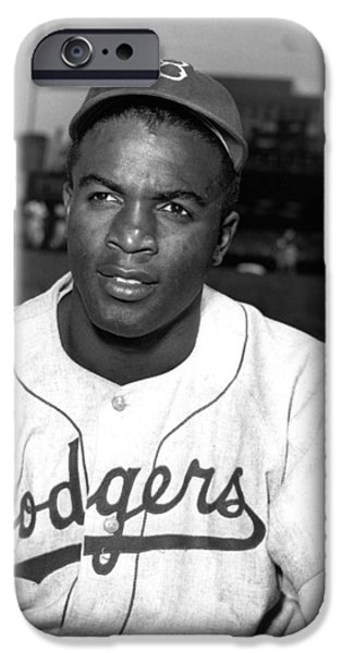 World Series iPhone Cases - Jackie Robinson Portrait iPhone Case by Gianfranco Weiss