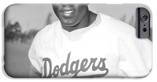 Pitcher iPhone Cases - Jackie Robinson Poster iPhone Case by Gianfranco Weiss