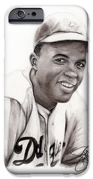 Mlb Drawings iPhone Cases - Jackie Robinson iPhone Case by Rosalinda Markle