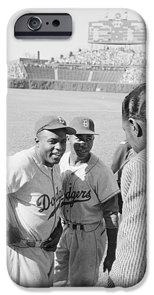 Wrigley Field Photographs iPhone Cases - Jackie Robinson with Hank Aaron and Nat King Cole  iPhone Case by The Phillip Harrington Collection