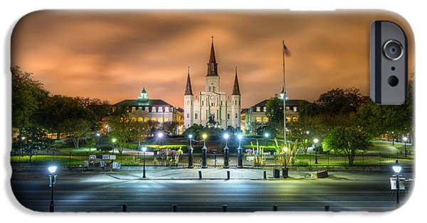 Louisiana Photographs iPhone Cases - Jackson Square at Night iPhone Case by Tim Stanley