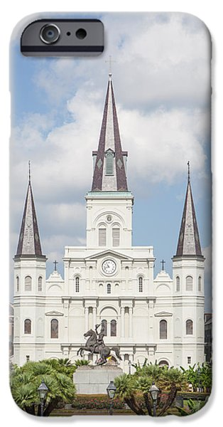 Kaypickens.com iPhone Cases - Jackson Square Cathedral iPhone Case by Kay Pickens