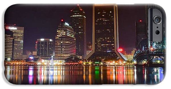 River View iPhone Cases - Jacksonville Aglow iPhone Case by Frozen in Time Fine Art Photography