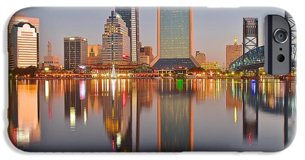 Inner World iPhone Cases - Jacksonville Florida at Daybreak iPhone Case by Frozen in Time Fine Art Photography