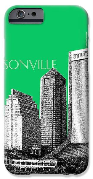 Jacksonville Florida Skyline - Green iPhone Case by DB Artist