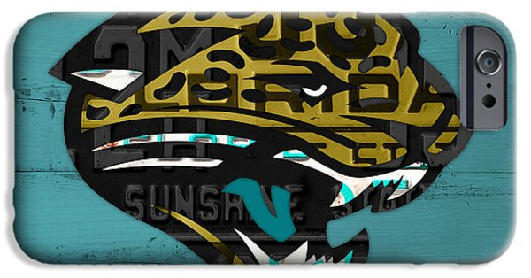Jacksonville iPhone Cases - Jacksonville Jaguars Football Team Retro Logo Recycled Florida License Plate Art iPhone Case by Design Turnpike