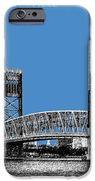 Pen And Ink iPhone Cases - Jacksonville Skyline 2  Main Street Bridge - Slate Blue iPhone Case by DB Artist