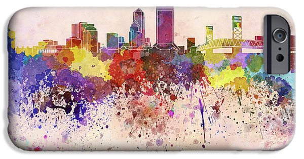 Jacksonville iPhone Cases - Jacksonville skyline in watercolor background iPhone Case by Pablo Romero