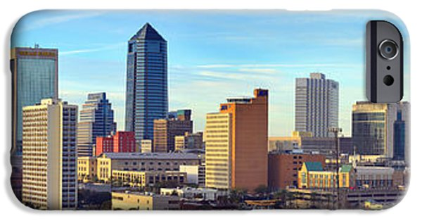 Jacksonville iPhone Cases - Jacksonville Skyline Morning Day Color Panorama Florida iPhone Case by Jon Holiday