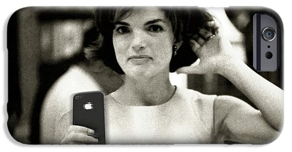 First Lady iPhone Cases - Jacky Kennedy Takes A Selfie iPhone Case by Tony Rubino