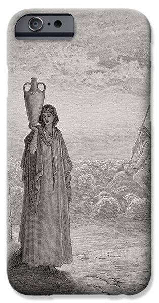 Religious Drawings iPhone Cases - Jacob Keeping Labans Flock iPhone Case by Gustave Dore