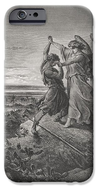 Challenging iPhone Cases - Jacob Wrestling with the Angel iPhone Case by Gustave Dore