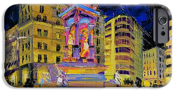 Facade iPhone Cases - Jacobins Fountain During The Festival Of Lights In Lyon France  iPhone Case by Mona Edulesco