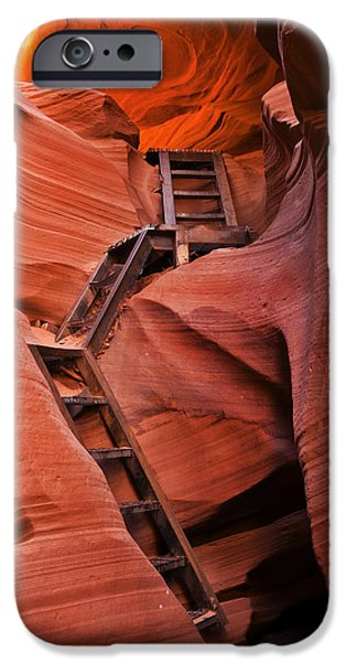 Red Rock iPhone Cases - Jacobs Ladder iPhone Case by Mike  Dawson