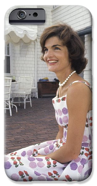 Cape Cod iPhone Cases - Jacqueline Kennedy at Hyannis Port 1959 iPhone Case by The Phillip Harrington Collection