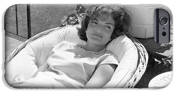 First Lady Photographs iPhone Cases - Jacqueline Kennedy relaxing at Hyannis Port 1959. iPhone Case by The Phillip Harrington Collection