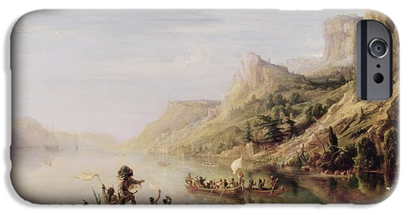 Canoe iPhone Cases - Jacques Cartier 1491-1557 Discovering The St. Lawrence River In 1535, 1847 Oil On Canvas iPhone Case by Jean Antoine Theodore Gudin