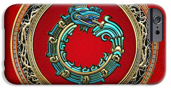 Serpent iPhone Cases - Jade Serpent God Quetzalcoatl  iPhone Case by Serge Averbukh