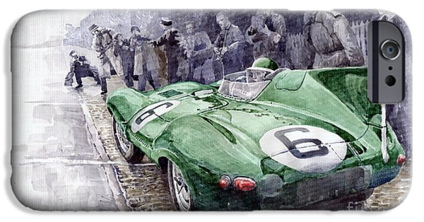 Racing Paintings iPhone Cases - Jaguar D-TYPE  1955 Le Mans  iPhone Case by Yuriy Shevchuk