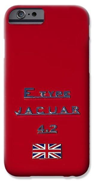 Jaguar E-type 4.2 Emblem 3 iPhone Case by Jill Reger