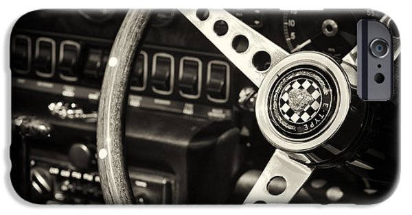Monochrome iPhone Cases - Jaguar E Type Steering Wheel   iPhone Case by Tim Gainey