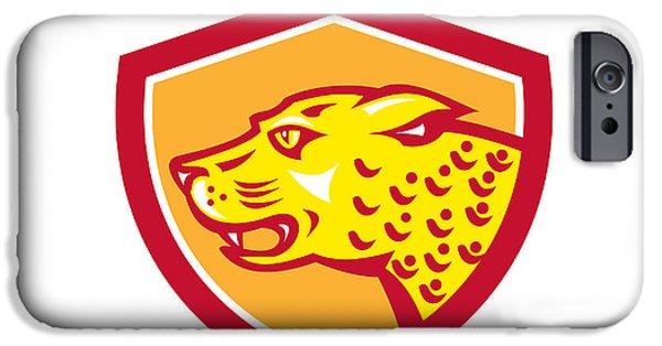 Growling iPhone Cases - Jaguar Head Side Growling Shield Retro iPhone Case by Aloysius Patrimonio