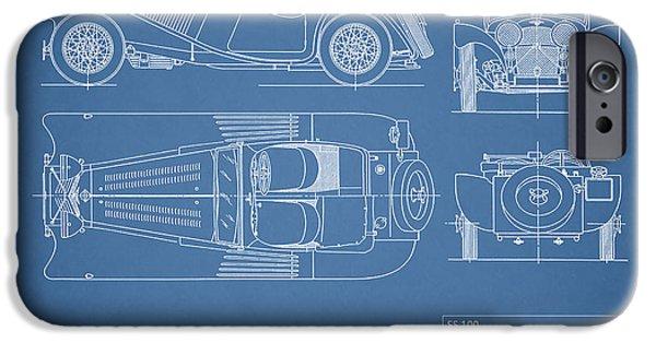 Sports iPhone Cases - Jaguar SS100 Blueprint iPhone Case by Mark Rogan