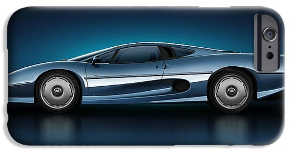 Old Cars iPhone Cases - Jaguar XJ220 - Azure iPhone Case by Marc Orphanos